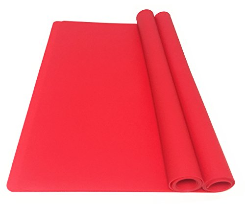 EPHome 2 Piece Multipurpose Silicone Nonstick Baking/Pastry, Heat Resistant Nonskid Table Mat, Countertop Protector, X-Large, Red