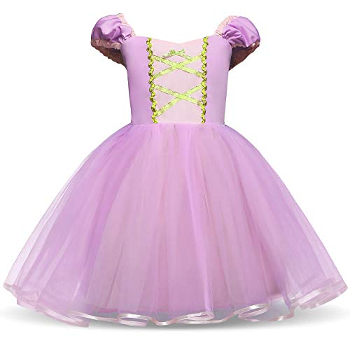 HNXDYY Cinderella Rapunzel Princess Girls Dress Fancy Party Costume Size (110) 3-4 Years Purple]()