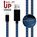 AoLiPlus 6.5 FT LED Charging Cable Visible Flowing Light UP USB Charger Cords Compatible with Phone X/8/8 Plus/7/7 Plus/6/6 Plus/5/5S/5C/SE - Blue