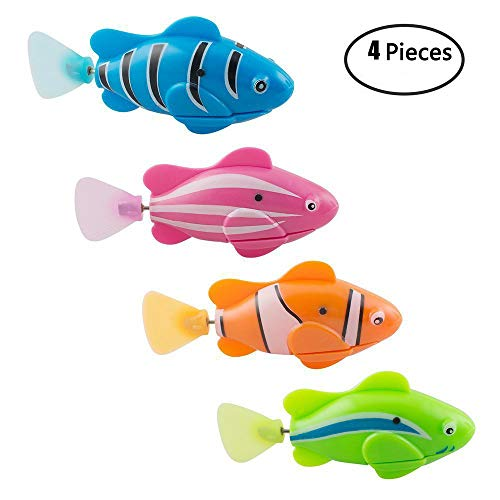 Ireav Electric Fish Swimming Fish Toy Water-Activated Magical Electronic Pets Toy 4PCS Robot Fish Children Kids Toddlers Boys Girls Bathtub Bathing Water Toys Children Gift