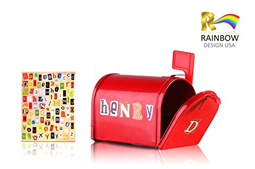 Rainbow design mini tin mailbox with alphebet stickers for for Mini tin mailboxes for crafts