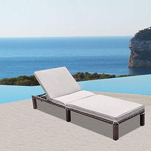 MAGIC UNION Patio Adjustable Wicker Chaise Lounge with Cushions