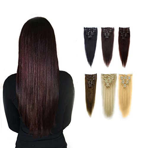 FUT 18inch 70g Straight Full Head Grade 7a 100 Percent Human Hair Pieces Extensions 15 Clips in 7 PCS for Girl Lady Women Dark Brown