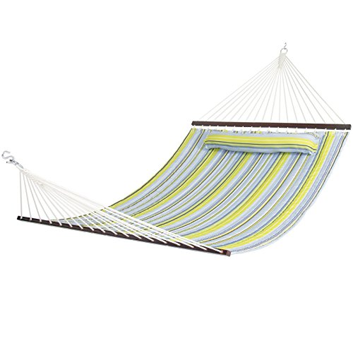Modern Hammock Quilted Fabric With Pillow Double Size Spreader Bar Heavy Duty Brand New There's nothing better than relaxing to the rhythm of a swaying hammock in your own - At Village San Seaport Shops Diego