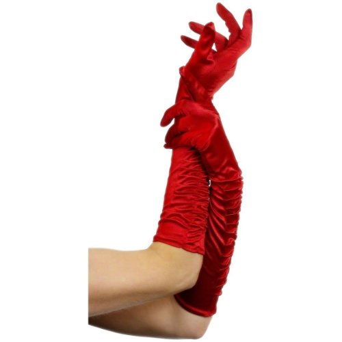 Fever Women's Long Gloves, Red, One Size, Temptress Gloves, 26345 (Sexy German Costume)