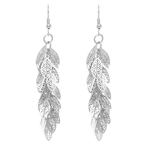(Bohemian Multi Layered Filigree Leaves Dangle Drop Long Statement Earrings)