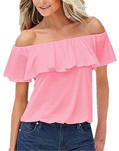 Maglietta Collar Con Corta Casual Camicetta shirts Pink Popolare Volant Unita Classico Scoperte Flat Manica Tinta T Sexy Bluse Ailient Spalle Top Donna vdFwvq
