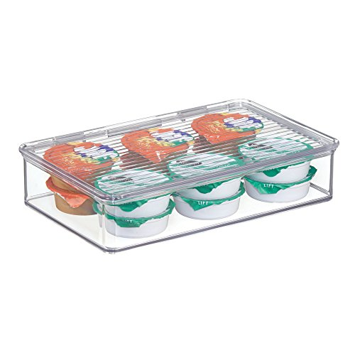 mDesign Stackable Kitchen Pantry Cabinet or Refrigerator Storage Organizers, Attached Hinged Lids - Compact Bins for Pantry, Refrigerator, Freezer - BPA Free, Food Safe - Clear