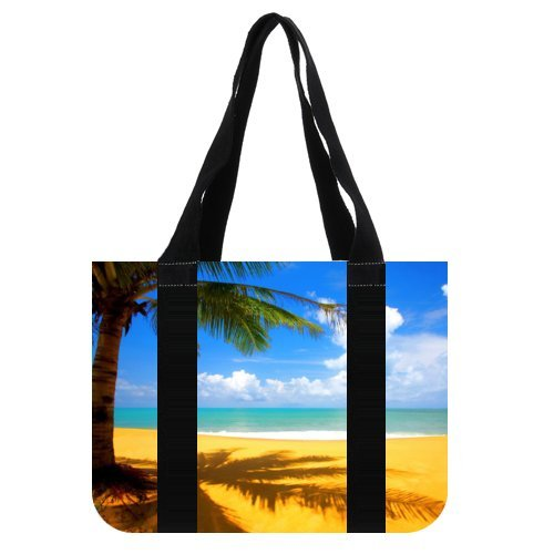 Tropical Hawaii Beach Palm Tree Summer Sunshine 100% Cotton Washable Heavy Duty Canvas Reusable Shopping Tote Grocery Bags Printed Totes - Maui Shopping Outlet