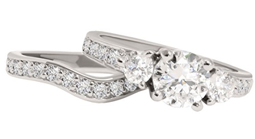 Three Stone White CZ Silver Wedding Ring Set for Her Size 11