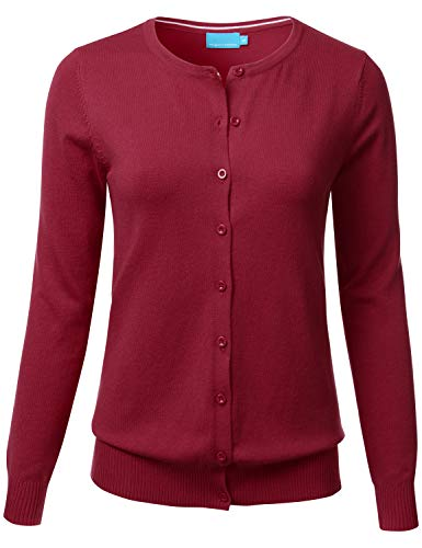 (FLORIA Womens Button Down Crew Neck Long Sleeve Soft Knit Cardigan Sweater 3XL, Fc280_burgundy)