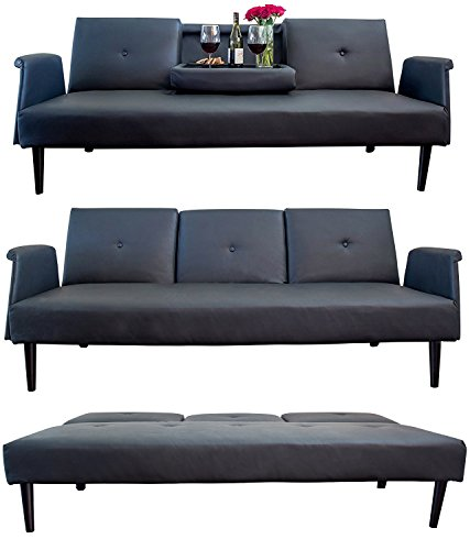 Leather Sofa Bed with Tray and Cup Holders, Black, Contemporary Futon Bed, Gorgeous Real Leather with Genuine Oak Wood Frame for Living Room or Guest room