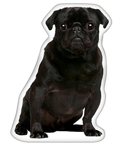 Black Pug Pillow (Velvet Polyester Graphic Print Double-Stitched Seams Machine Washable Pug Black Shaped Pillow, Dimensions 18Hx10Wx3D)