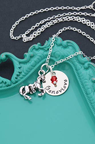 Personalized Horse Necklace – DII AAA - Animal Lover – Handstamped Handmade Jewelry – 5/8 Inch 15MM Silver Disc – Choose Crystal – Custom Name – Pick Chain Length – Fast 1 Day Shipping