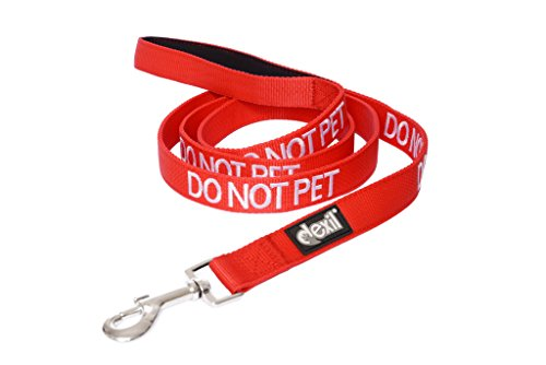 DO NOT PET Red Color Coded 2 4 6 Foot Padded Dog Leash PREVENTS Accidents By Warning Others of Your Dog in Advance (6ft)