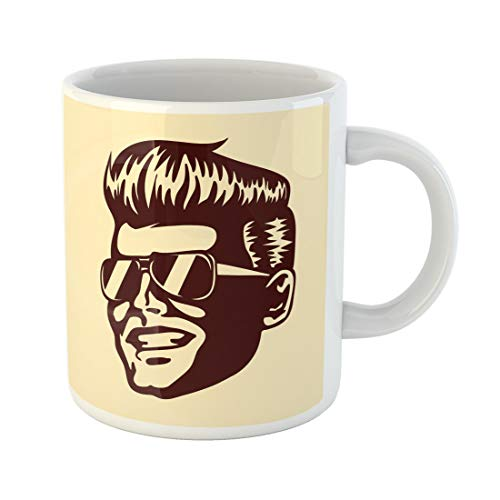 Semtomn Funny Coffee Mug Vintage Retro Cool Dude Man Face Sunglasses Rockabilly Pompadour 11 Oz Ceramic Coffee Mugs Tea Cup Best Gift Or Souvenir]()