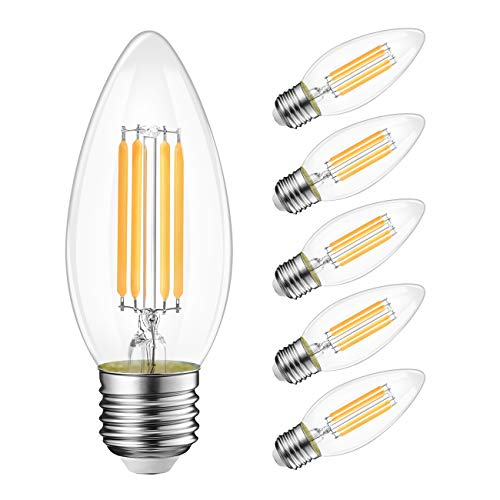 B11 LED Filament Bulb E26 Candelabra Base, LVWIT 4W(40W Equivalent) Dimmable 3000K Chandelier Decorative Candle LED Light Bulbs 6-Pack