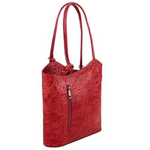 stampa Rosso Lipstick Leather convertibile zaino a TL141676 Borsa Patty floreale donna pelle Tuscany in Rosso qCzR7Rw