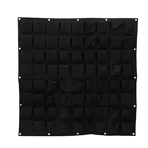 72 Pockets Planting Bags Wall Hanging Gardening Planter Outdoor Indoor Vertical Greening Grow Bags, Black