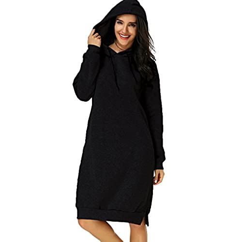 Kidsform Otoño Mujere Ropa Vestido Largo Encapuchado Pullover Hoodie Sudadera con Capucha Negro ES 48/Asia 2XL
