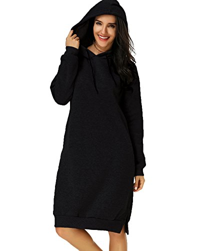 Kidsform Women Autumn Long Sleeve Loose Hoodies Hooded Sweatshirt Fleece Long Dress Black L
