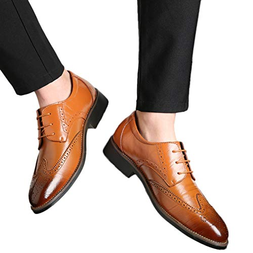 (Men Wingtips Square Toe Oxfords Lace-Up Dress Shoes Low Heel Flats Business Classic Shoes by Lowprofile)