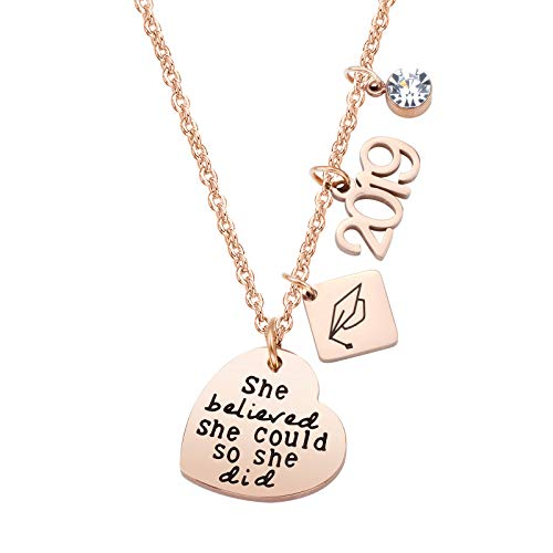 ivyAnan Jewellery Inspirational Gift for Women Girls 2019 Graduation Jewelry Necklace Engraved She Believe She Could So She Did