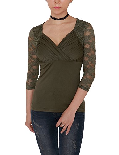 VIVALACE Womens 3/4 Sleeve Cross-front V Neck Lace Detail Knit Top, Olive, XL
