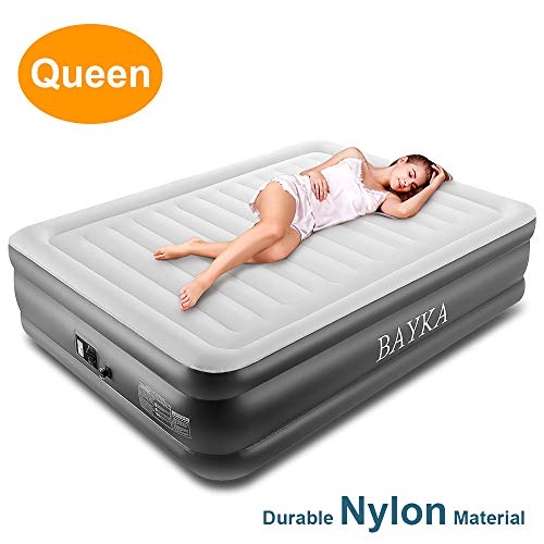 BAYKA Inflatable Queen Air Mattress with Built-in Pump, Double High Blow Up Airbed, Elevated Raised Camping Bed with Durable Polyester Fabric Top & 2-Year Guarantee, Nylon, Grey, Firm