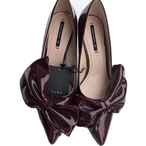 n Women's Size 6 Euro 37 Burgundy Bow Slip Slim Stileto ()
