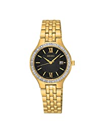 Seiko SUR754 Women's Stainless Steel Gold Bracelet Band Black Dial Watch