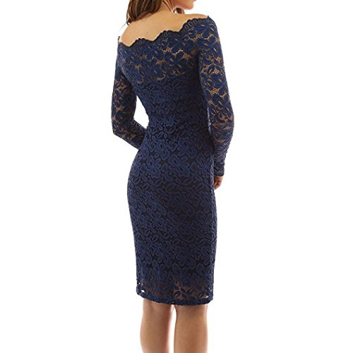 ... Kolylong® Kleid damen Frauen Elegant Schulterfrei Spitze Kleid Vinatge  Rückenfreies Kleid Knielang Slim Festlich Kleider ... 364437cda3
