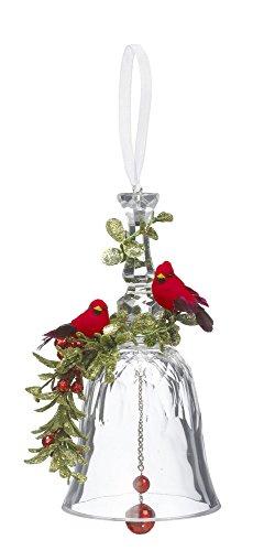 GANZ 7'' Kyrstal Kiss Ball Ornament, Double Cardinal Bell - Wedding Acrylic Kissing Crystal-like KK215 by Ganz