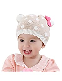 Happy Cherry Baby Girl Toddler Child Kids Fashion Cute Hat Autumn Winter Warm 100% Cotton Knitted Cap Polka Dots Red Bowknot Crochet Beanie - 12-18M 48cm