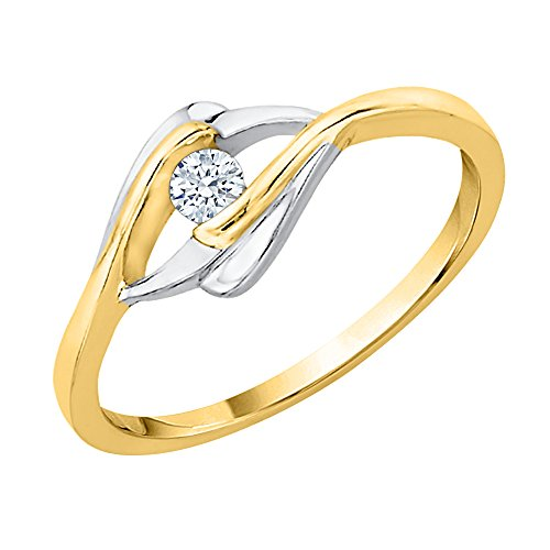 KATARINA Diamond Bypass Fashion Ring in 14K Two Tone Gold (1/6 cttw, I-J, I1-I2) (Size-12) ()