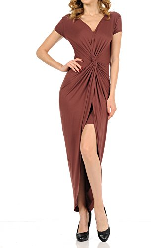 Auliné Collection Womens Deep Vneck Ruched Twist Flowy High Low Maxi Dress Red Bean Medium from Auliné Collection