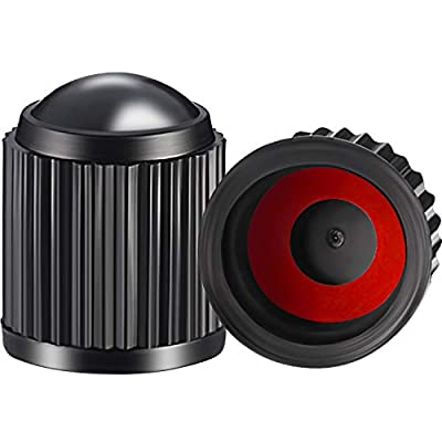 Outus 20 Pack Tyre Valve Dust Caps for Car, Motorbike, Trucks, Bike, Bicycle (Black and Red Rubber Ring): Automotive