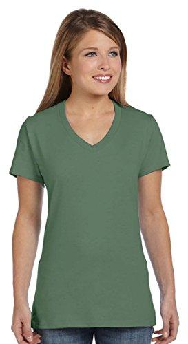 Green Ladies T-shirt (Hanes Women's Nano- V-Neck T-Shirt Vintage Green Large)