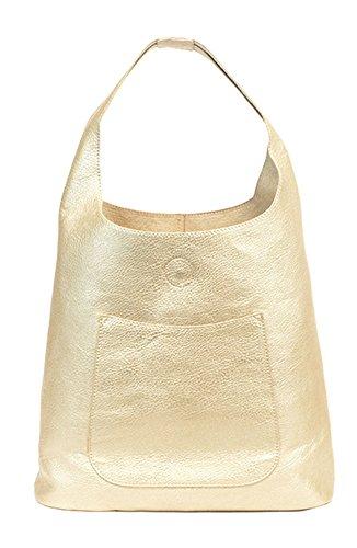 Metallic Top Zip Tote - Joy Susan Molly Slouchy Hobo Handbag, Metallic Gold