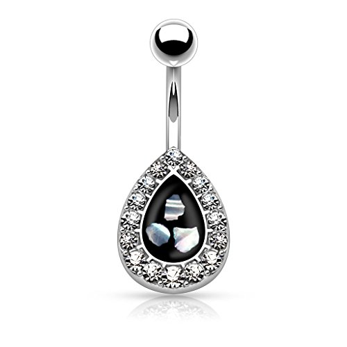 Round Crystal Paved Tear Drop Simulated Pearl Inlaid Center Belly Button Ring 316L 14g Navel Ring (Silver (Pearl Button Center)