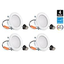 4-Inch Hyperikon LED Downlight, ENERGY STAR, 9W (65W Equivalent), 3000K (Soft White Glow), CRI93+, Dimmable, Retrofit LED Recessed Lighting Kit Fixture, Wet Rated and UL-Listed - (Pack of 4)