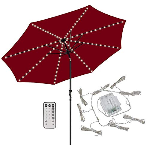 104 LED Patio Umbrella Chain Lights with Waterproof Timer and 8 Modes Sequence Functions – Suitable for Indoor and Outdoor Use – Designed to Fit Garden Umbrellas with 8 Poles (Warm White) by WooBrit