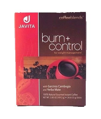 Burn + Control Weightloss Gourmet Instant Coffee by Javita - 24 Sticks, Net Wt. 3.81 Ounce by Javita