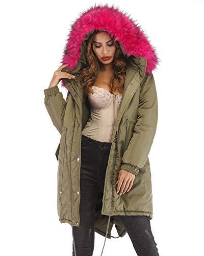 Roiii Women Casual Winter Warm Thicken Black Shade Faux Fur Coat Outdoor Hood Parka Long Jacket Plus Size S- 3XL (XX-Large, AmryGreen)