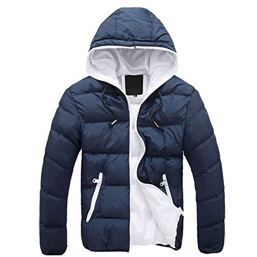 7a5d452cab5 Blaward Mens Down Jacket Hooded Lightweight Winter Thicken Cotton Puffer  Coat Packable Warm Parka Outwear