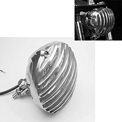 """Motorcycle 5"""" Chrome Round Scalloped Headlight Finned Grill For Harley Dyna Fat Bob Super Glide Electra Glide Classic FLHT Fatboy FirefighterHeritage Softail Road King FLHR Bobber Custom"""