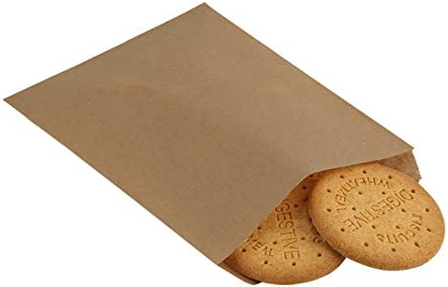 BagDream 5.5x7.75 Inches Kraft Paper Bags Pack of 100 Flat Greaseproof Paper Bags Greaseproof Envelopes Brown Paper Snack Bags Cookie Bags Popcorn Bags