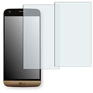 """2 x protectores pantalla Golebo para LG G5. Lámina protectora adhesiva invisible """"Crystal Clear"""". Fabricado en Alemania. (Intencionadamente es más pequeña que la pantalla ya que esta es curva)"""