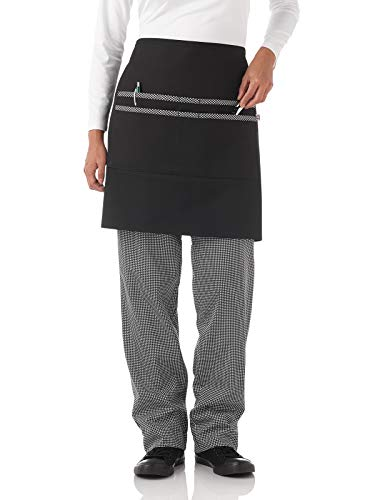 Five Star Chef Apparel 18227 Unisex Print Trimmed Mid-Length Waist Apron - Extra Length Waist Apron