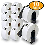 10 Rolls Brother-Compatible DK-1201 P-Touch 29mm x 90mm Standard Address Labels With Two Refillable Cartridge